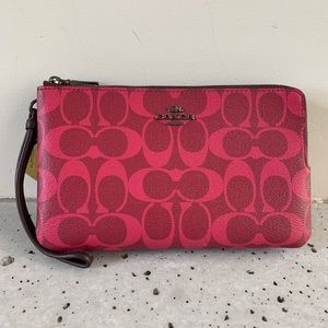 NWT COACH DOUBLE ZIP WALLET IN BLOCKED SIGNATURE